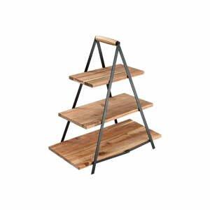Trojposchodový stojan na dezerty z akáciového dreva Ladelle Serve & Share