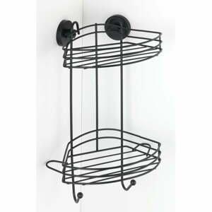 Čierna rohová dvojposchodová polička do kúpeľne Wenko Vacuum-Loc® Pavia, výška 43 cm