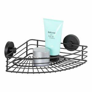 Čierna rohová polička do kúpeľne Wenko Vacuum-Loc® Bari
