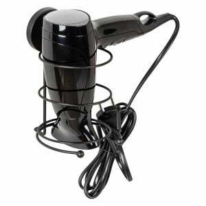 Čierny nástenný držiak na fén Wenko Vacuum-Loc® Milazzo