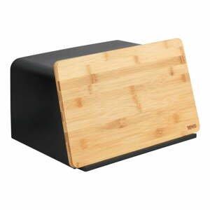 Čierna dóza na chlieb s bambusovým poklopom Wenko Kubo