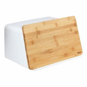 Biela dóza na chlieb s bambusovým poklopom Wenko Kubo