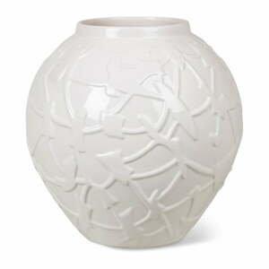 Biela kameninová váza Kähler Design Relief, výška 20 cm