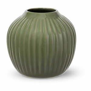 Tmavozelená kameninová váza Kähler Design, výška 13 cm