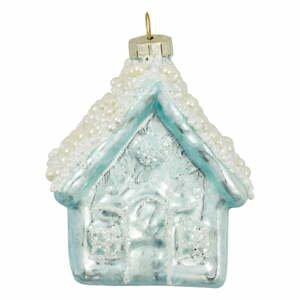 Modrá sklenená vianočná ozdoba Green Gate Ornament House