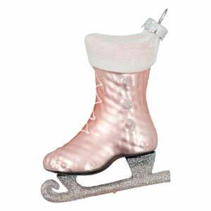 Ružová sklenená vianočná ozdoba Green Gate Ice Skate