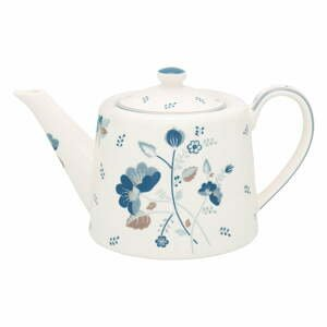 Bielo-modrá kameninová kanvica na čaj Green Gate Mozy, 1 l