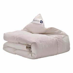 Biela prikrývka s výplňou z kačacieho páperia a peria Good Morning Premium,140 x220cm