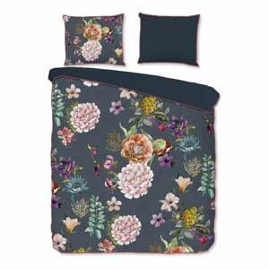 Antracitovosivé obliečky na dvojlôžko z organickej bavlny Descanso Peonies,200x220cm