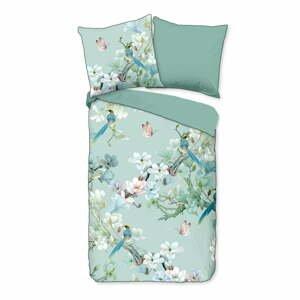 Zelené obliečky na jednolôžko z organickej bavlny Descanso Flowery,140x220cm