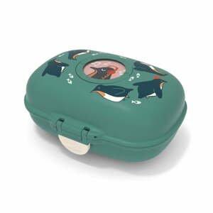 Zelený detský desiatový box Monbento Gram Penguin