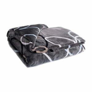 Sivo-hnedá mikroplyšová deka My House Srdce, 150 x 200 cm