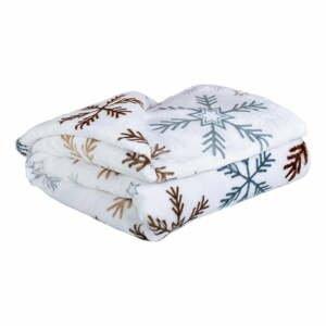 Biela mikroplyšová deka My House Vločka, 150 x 200 cm