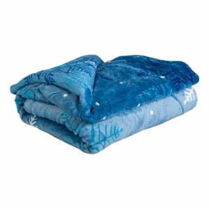 Modrá mikroplyšová deka My House Vločka, 150 x 200 cm