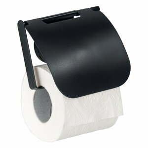 Čierny nástenný držiak na toaletný papier Wenko Static-Loc® Plus