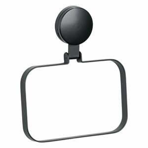 Čierny nástenný držiak na uterák Wenko Static-Loc® Plus