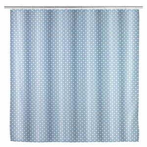 Modrý sprchový záves Wenko Cristal, 180 x 200 cm