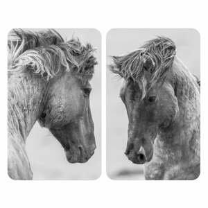 Súprava 2 sivých krytov na sporák Wenko Horses, 52 x 30 cm