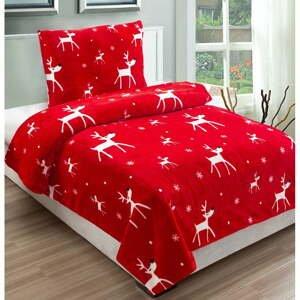 Červené mikroplyšové obliečky na jednolôžko My House Dasher, 140 x 200 cm