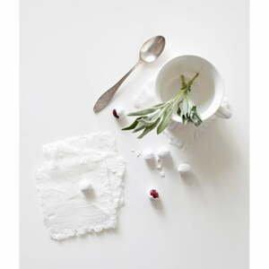 Súprava 4 bielych ľanových podnosov Linen Tales Classic, 10 x 10 cm