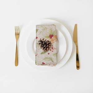 Súprava 2 vianočných ľanových obrúskov Linen Tales Jingle Bells, 40 x 40 cm