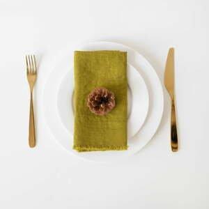 Súprava 2 zelených ľanových obrúskov Linen Tales Classic, 40 x 40 cm