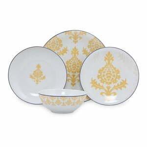 24-dielna súprava bielo-žltého porcelánového riadu Kütahya Porselen Ornaments