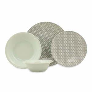 24-dielna súprava zeleno-bieleho porcelánového riadu Kütahya Porselen Amelia