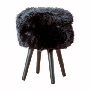 Stolička s čiernym sedákom z ovčej kožušiny Native Natural Black, ⌀ 30 cm