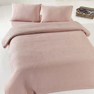 Béžovo-ružový ľahký bavlnený pléd cez dvojlôžko Dusty Rose Pique, 190x225cm