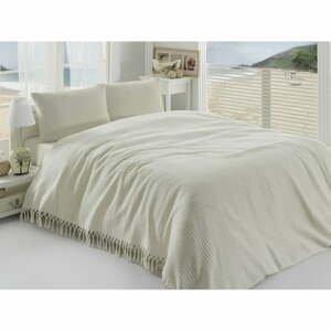 Krémovobiely ľahký bavlnený pléd cez posteľ na dvojlôžko Pique, 220×240cm
