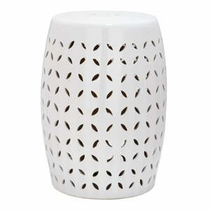 Biely odkladací keramický stolík vhodný do exteriéru Safavieh Lattice Petal, ø33cm