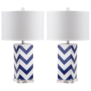 Sada 2 stolových lámp s modro-bielou základňou Safavieh Gabriella