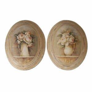 Sada 2 ks obrázkov Antic Line Medaillon Roses, 27 x 32 cm