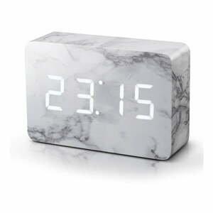 Budík v mramorovom dekore s bielym LED displejom Gingko Brick Marble Click Clock