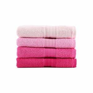 Sada 4 ružových bavlnených uterákov Rainbow, 50 x 90 cm