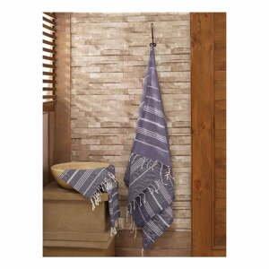 Set tmavomodrého uteráka s osuškou Hammam zo 100% bavlny Sultan