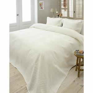 Krémovobiely pléd cez posteľ s dvomi obliečkami na vankúš Sleeptime Charlene, 260 x 250 cm