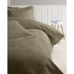 Hnedá prikrývka z mikroperkálu s dvomi obliečkami na vankúš Sleeptime Charlene, 250 x 260 cm