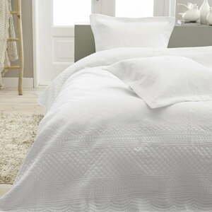 Biela prikrývka z mikroperkálu s dvomi obliečkami na vankúš Sleeptime Charlene 260×250 cm