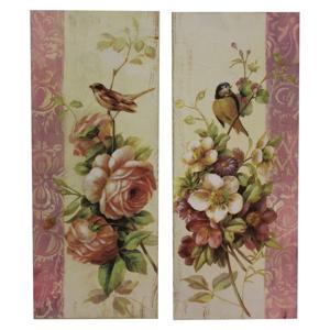 Sada 2 obrazov Antic Line Roses and Birds, 64 × 26 cm
