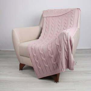 Ružový bavlnený pléd Couture, 130x170cm