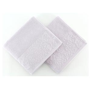 Sada 2 svetlofialových uterákov zo 100% bavlny Burumcuk, 50 x 90 cm
