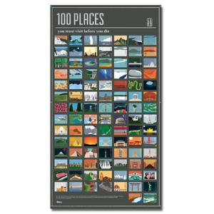 Plagát DOIY 100 Places You Must Visit, 54,5 x 98 cm
