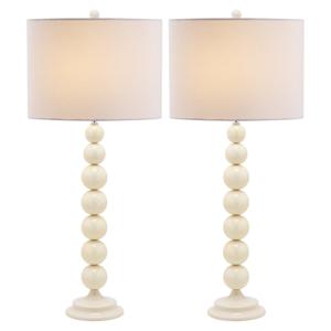 Sada 2 stolových lámp s bielou základňou Safavieh Nathaniel