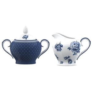 Porcelánová cukornička a dóza na mlieko Creative Tops Vintage Indigo