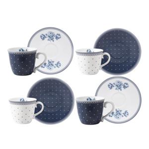 Sada 4 porcelánových hrnčekov na espresso s tanierikmi Creative Tops Vintage Indigo