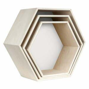 Sada 3 bielo-hnedých nástenných poličiek Little Nice Things Hexagon