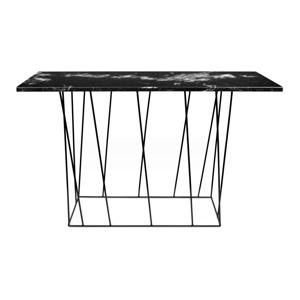 Čierny mramorový konzolový stolík s čiernymi nohami TemaHome Heli×