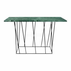 Zelený mramorový konzolový stolík s čiernymi nohami TemaHome Heli×